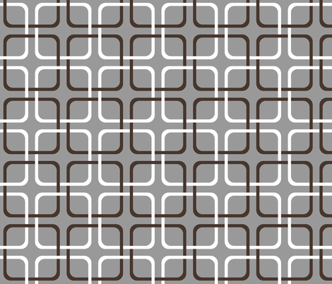 Squircle Lock ~ Chocolate and White on Pewter fabric by peacoquettedesigns on Spoonflower - custom fabric