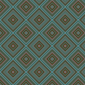 stripe diamonds-brown, seagreen, aqua