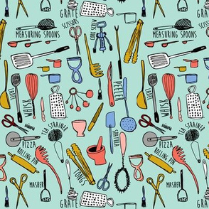 Kitchen Utensils Wallpaper utensil fabric, wallpaper & gift wrap - spoonflower