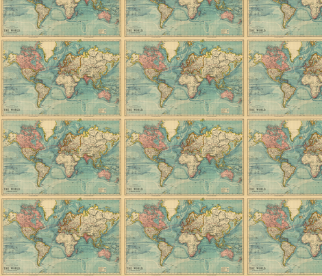 World Map fabric by sleepymountain on Spoonflower - custom fabric