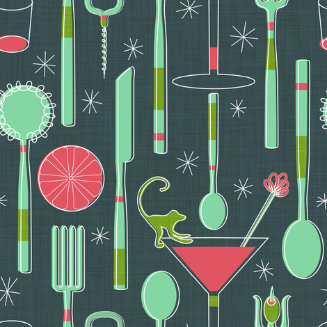 cocktail party utensils!  fabric by vo_aka_virginiao on Spoonflower - custom fabric