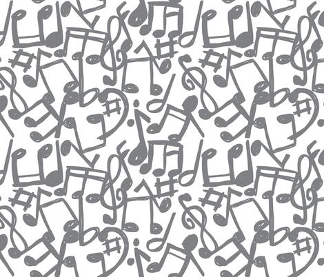 music_grey fabric by mondebettina on Spoonflower - custom fabric