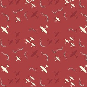 1940s inspired Spitfire aircrafts red