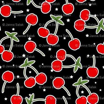 Red Cherries Pattern Black with White Stars