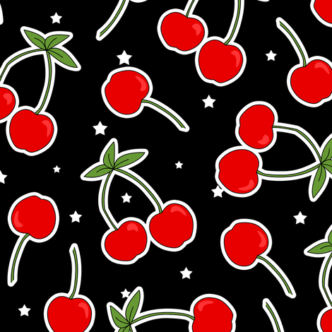 Red Cherries Pattern Black with White Stars fabric by jannasalak on Spoonflower - custom fabric