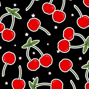 Red Cherries Pattern Black with White Stars