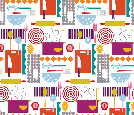 Cooking Dinner fabric by katerhees on Spoonflower - custom fabric