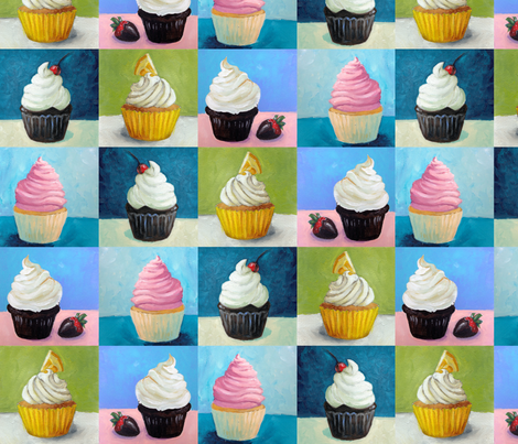 "Painted Cupcakes 4""  fabric by meganmerz on Spoonflower - custom fabric"