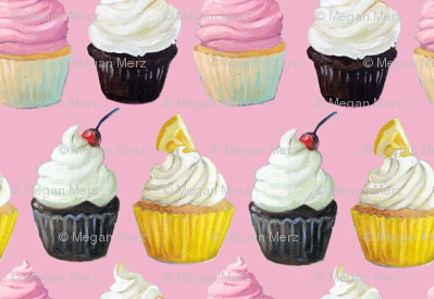 Little Cupcakes on Pink