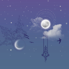 Moons in a twilight sky, border print