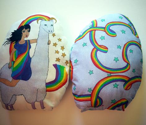 Rainbow Girl Rides theDrallamram Softie