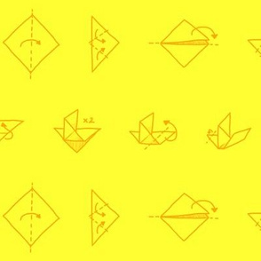origami dove on yellow background