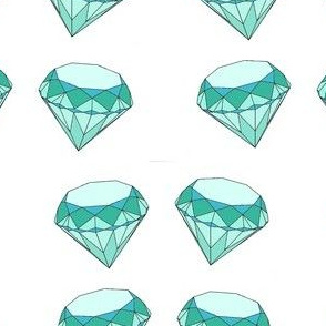 diamond in mint green and teal