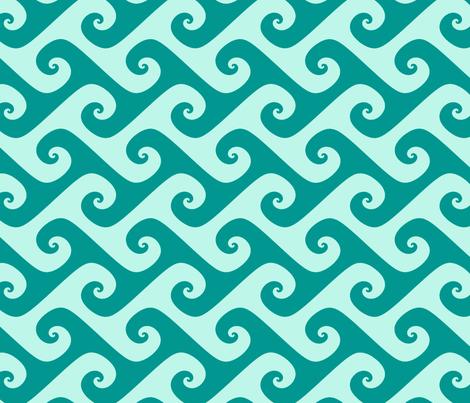 aqua surfer's waves fabric by weavingmajor on Spoonflower - custom fabric