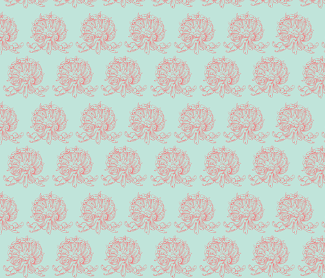 Aqua and pink fancy shells fabric by briarfield_designs on Spoonflower - custom fabric