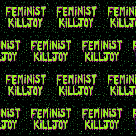 Feminist Killjoy - Alien Green and Black fabric by haikumoon on Spoonflower - custom fabric