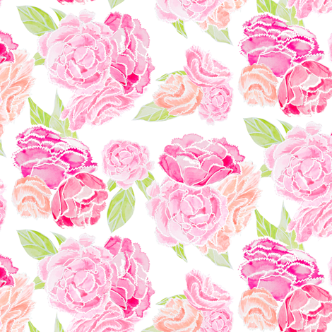 Peony Bouquet with Green Leaves fabric by emilysanford on Spoonflower - custom fabric