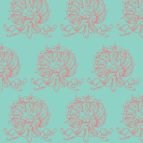 Teal and pink fancy shells