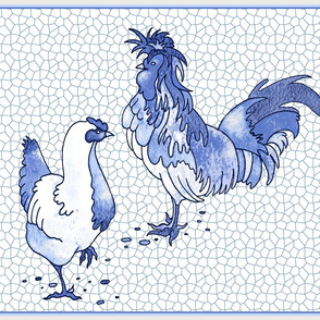 Delft Blue Chicken Pair