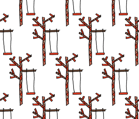 Tree and a Swing (original) fabric by anniedeb on Spoonflower - custom fabric