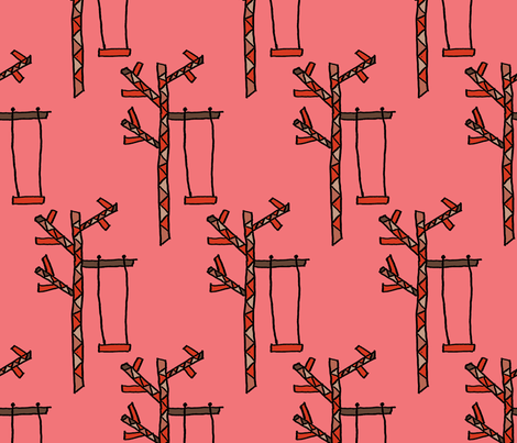 A Tree and a Swing on Rose fabric by anniedeb on Spoonflower - custom fabric