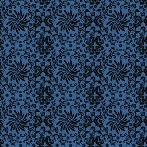 Victorian Black And Blue Flower Motifs Fabric 1
