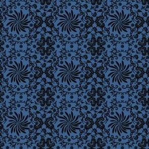 Victorian Black And Blue Flower Motifs Fabric 1