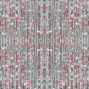 Geo Floral Mirrored Stipe Print