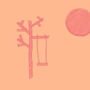 A Tree, a Swing, and the Harvest Moon