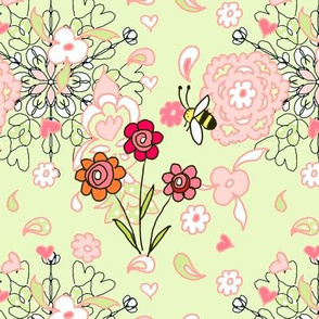 Hearts flowers and a bee