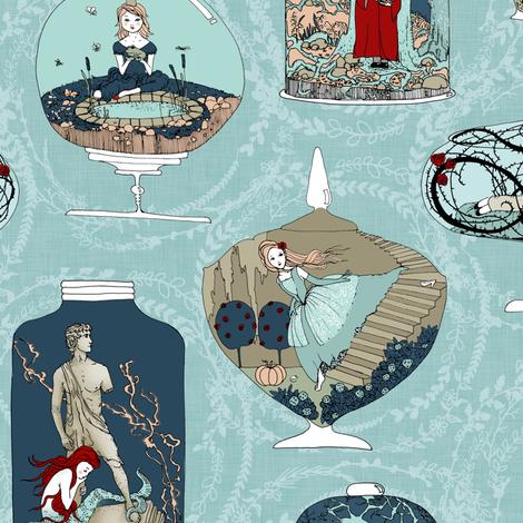 Fairytale Terrariums (in Sky blue + laurels) fabric by nouveau_bohemian on Spoonflower - custom fabric