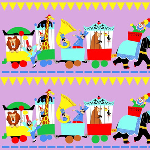 circus trains animals lions clowns balloons giraffes monkeys elephants music band tuba flags bears birds toucans procession zoo whimsical adorable