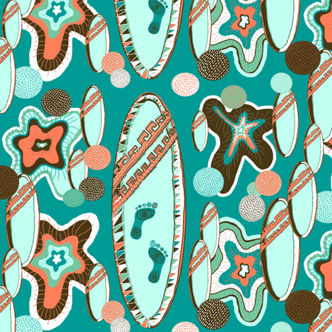 surfboard limited palette, large scale, mint green brown orange fabric by amy_g on Spoonflower - custom fabric