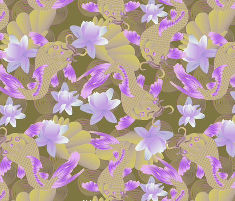 koi and lotus in gold fabric by kociara on Spoonflower - custom fabric
