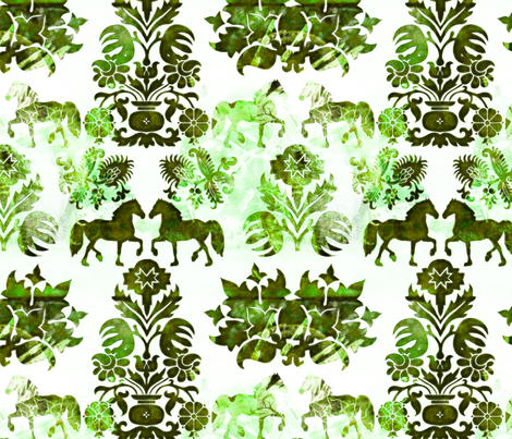 green horse damask fabric by kociara on Spoonflower - custom fabric