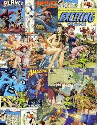 Vintage Sci-Fi Comics collage #1