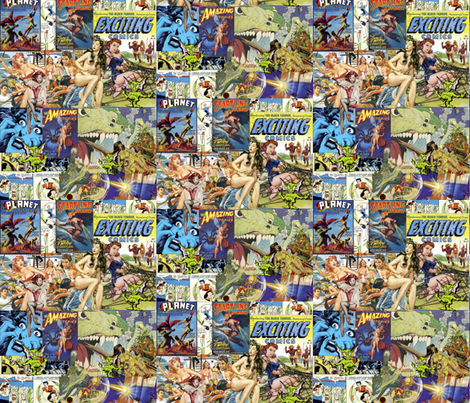 Vintage Sci-Fi Comics collage #1 fabric by whimzwhirled on Spoonflower - custom fabric