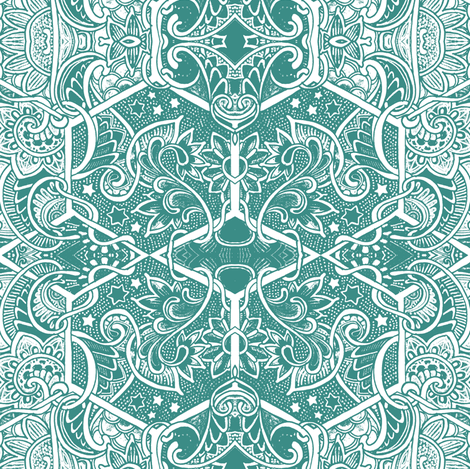 Allemande Left (green/white) fabric by edsel2084 on Spoonflower - custom fabric