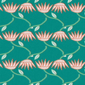 Surf and Sea Asters on Teal