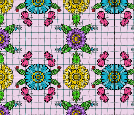 Tiled Garden, Pink Butterflies fabric by toni_elaine on Spoonflower - custom fabric