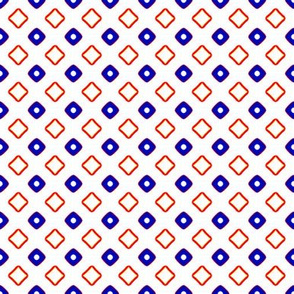 Diamonds and Dots   -Bright Blue and Orange on White