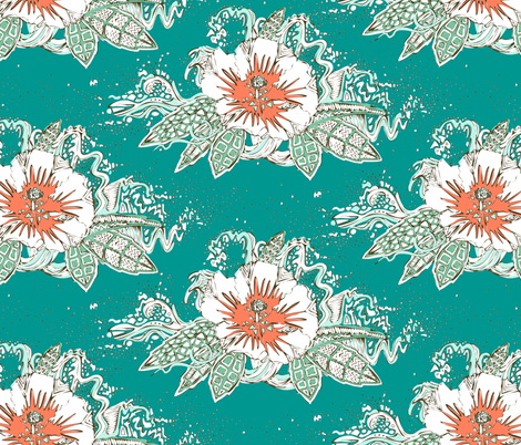 hibiscus surf retro fabric by scrummy on Spoonflower - custom fabric