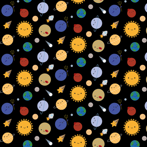 Say Hello to the Solar System fabric by marcelinesmith on Spoonflower - custom fabric