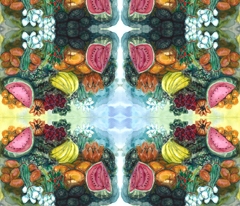 Watercolor Fruit Stand 1 fabric by jenithea on Spoonflower - custom fabric