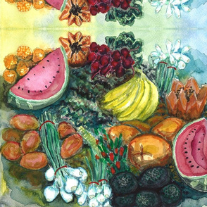 Watercolor Fruit Stand 1