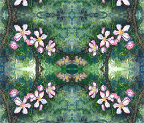 Watercolor Apple Blossoms 1 fabric by jenithea on Spoonflower - custom fabric