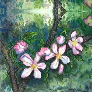 Watercolor Apple Blossoms 1