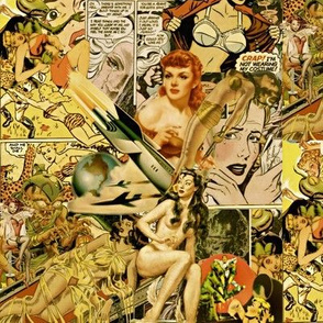 Vintage Sci-fi comics collage #2