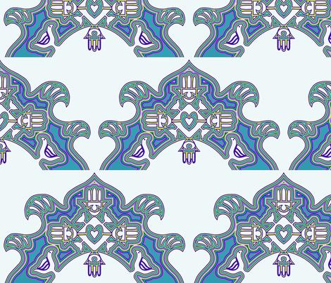 Chamsah mola, blues fabric by bumbleb33 on Spoonflower - custom fabric