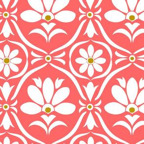 Coral Flower Damask
